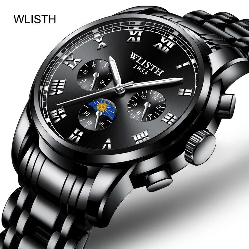 WLISTH Men's Steel Belt Strap Waterproof Fashion Business Style Luminous Polish Scratch Resistant Glass Quartz Wrist Watch
