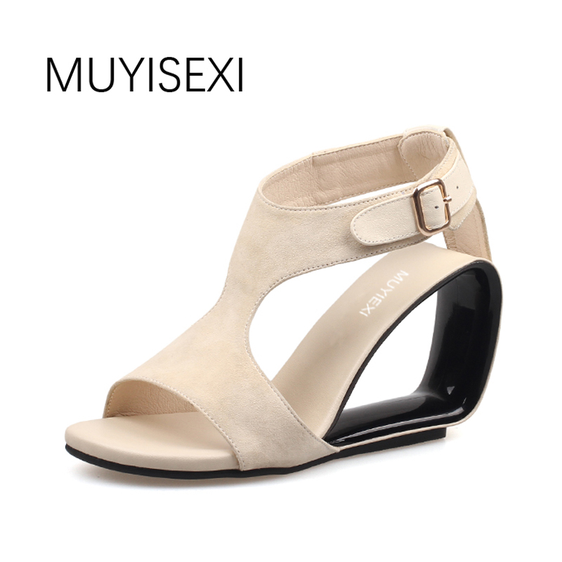 Wedges Shoes for Women Sandals Genuine Leather 9CM Fretwork High Heel Wedges Gladiator Sandals Women Apricot