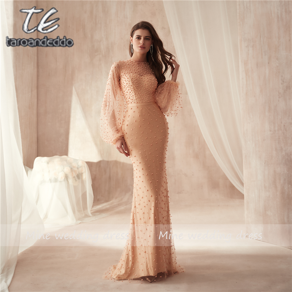 O-neck Champagne Heavy Beading Pearls Long Sleeves Saudi Arabia Prom Dress Sheath Long Evening Dress Party Formal Dresses