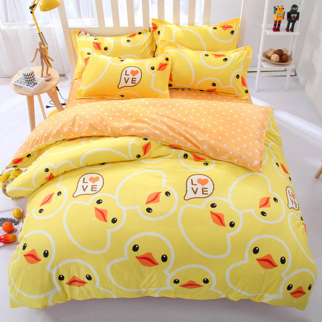 Cute Yellow Duck Octopus Bedding Set Duvet Cover Bed Sheet Cartoon S Kids Bedroom Sets Queen