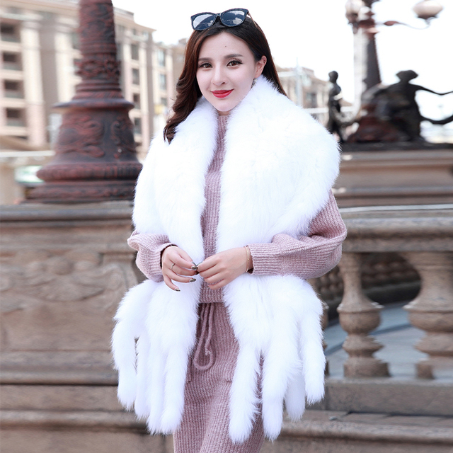 winter fashion cute long real natural  fox fur knitted tassel large cape scarf with tassel  women cute suede pluff warm hair cap