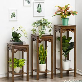 Flower rack landing type indoor solid wood multi-storey shelf, balcony decoration living room shelf
