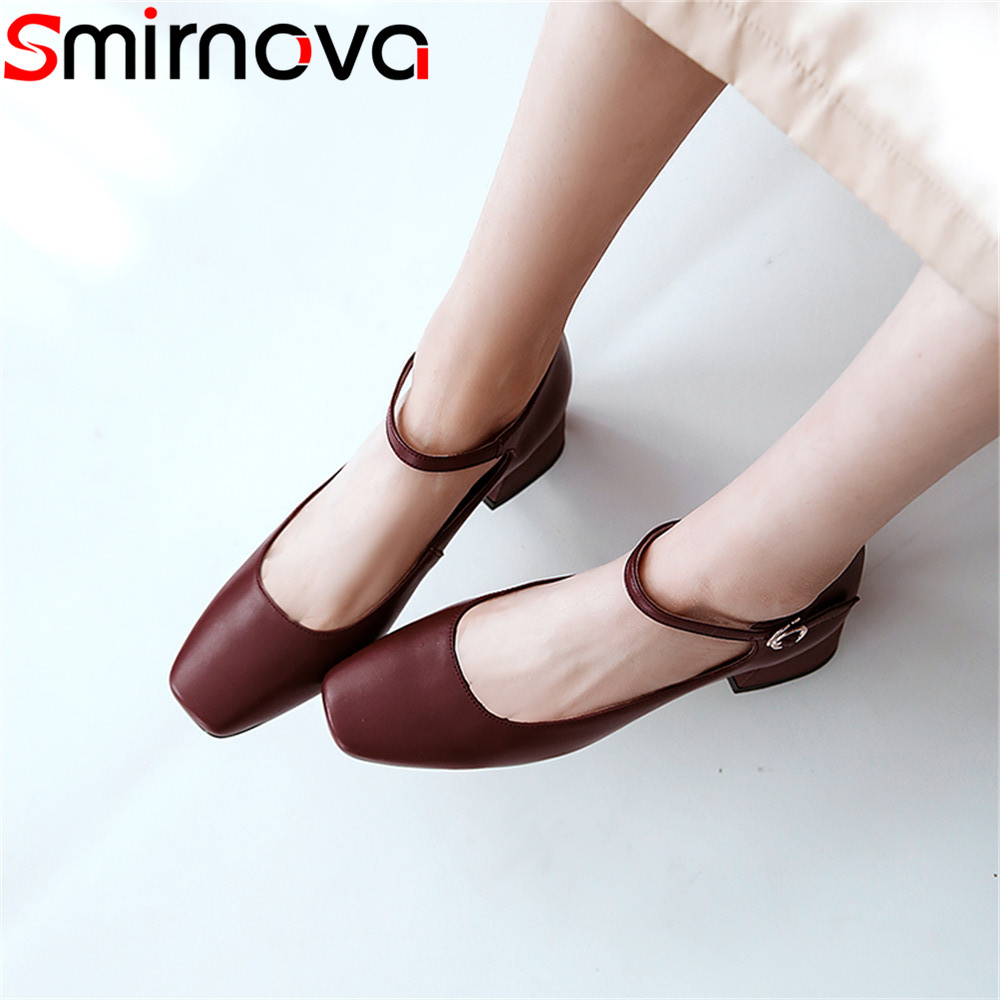 Smirnova black fashion 2018 new shoes woman square toe buckle pumps women shoes genuine leather med heels shoes square heel smirnova 2018 summer new shoes woman pointed toe fashion rivet sandals women genuine leather med heels shoes square heel