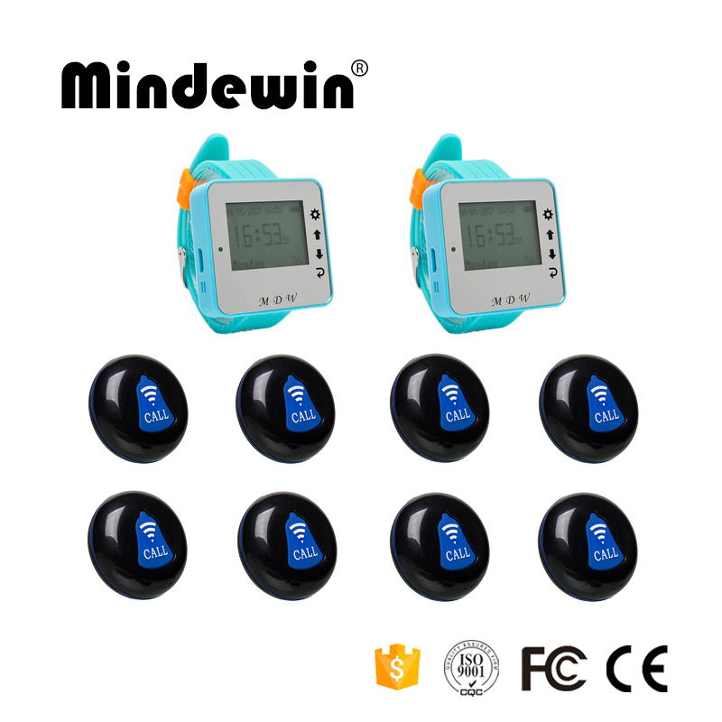 Mindewin Wireless Restaurant Service Calling System 8pcs Call Transmitter Button+2pcs Wrist Receiver 433MHz For Cafe Shop restaurant wireless table bell system ce passed restaurant made in china good supplier 433 92mhz 2 display 45 call button