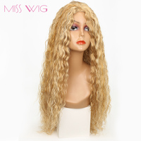 MISS WIG 20inch Long Kinky Curly Wigs Synthetic False Hair Wigs For Black Women