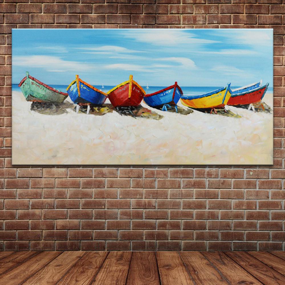 Kumsal duvar boyas rengi ile modern ve k ev dekorasyonu - Mavi Okyanus Hawaii Plaj Ya L Boya Renkli Tekneler Zerinde Ev Dekorasyon I In Tuval Modern Manzara Duvar Resim
