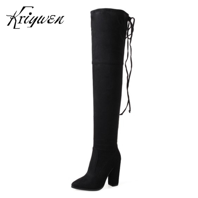 Plus size 33-43 fashion women long motorcycle boots thigh thick high heels over the knee boots for female leisure woman shoes