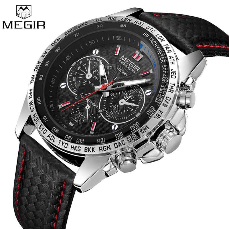 417ae8fcf721 MEGIR Mens Watches Top Luxury Brand Male Clocks Military Army Man Sport Clock  Leather Strap Business