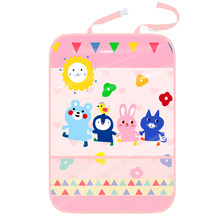 E-FOUR Car Anti-Child-Kick Pad Polyester Three Layers Seat Back Storage Bag Child Eras Painting Cartoon Decor Vehicle Items