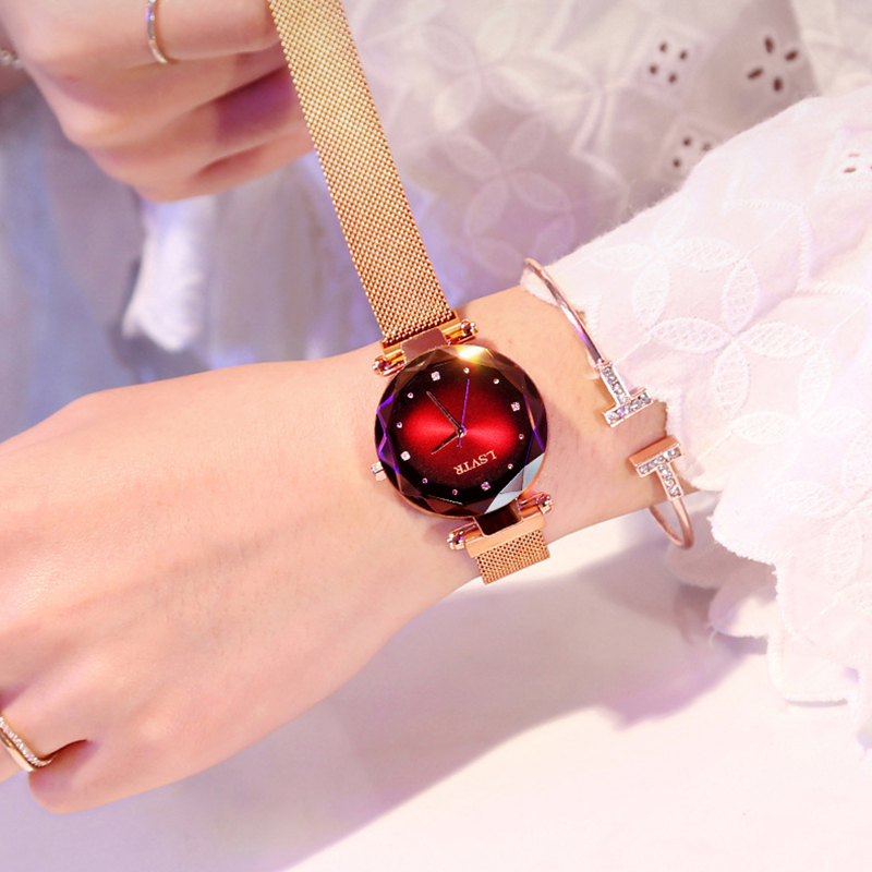 2019 Fashion Watch Women Luxury Rose Gold Ladies Wrist Watches Magnet Waterproof Clock relogio feminino zegarek damski Gift Wife 1