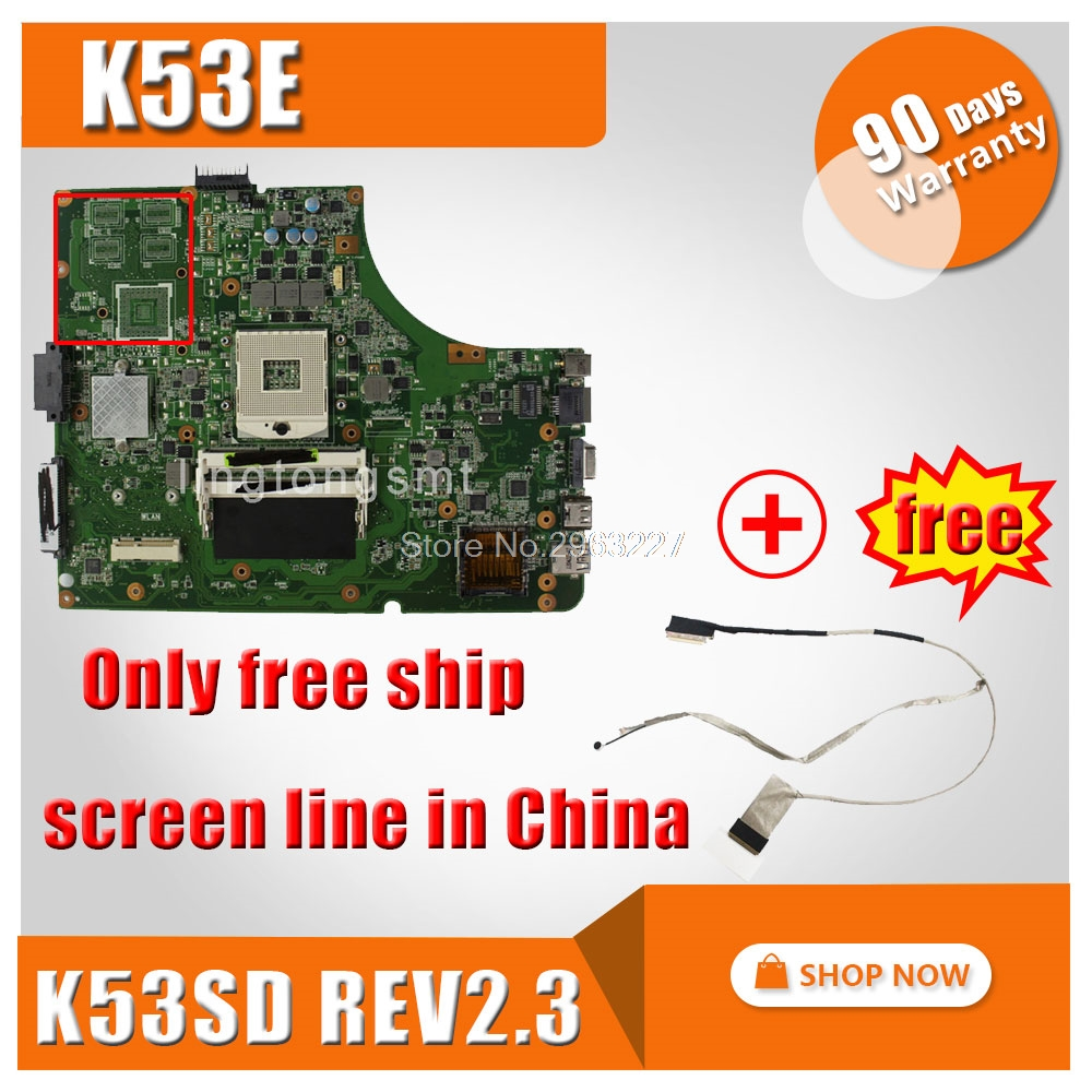 For Asus K53E motherboard mainboard A53E P53E X53E K53E K53SD REV 2.3 tested ok and 100% work k73ta for asus k73t x73t k73ta k73tk r73t latop motherboard rev 1a qbl70 la 7553p hd7670m 1gb mainboard 100% tested ok