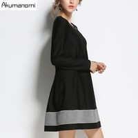 Autumn Winter Dress O Neck Full Sleeve A Line Pleated Bow Black Gray Patchwork Women Clothes