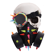 Punk Black Man Goggles Face Dust Gas Mask Steampunk Costumes Rivets Glasses Spikes Mask Set Party Halloween Accessories Goth