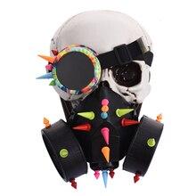 Punk preto homem óculos rosto poeira máscara de gás trajes steampunk rebites óculos spikes máscara conjunto festa dia das bruxas acessórios goth