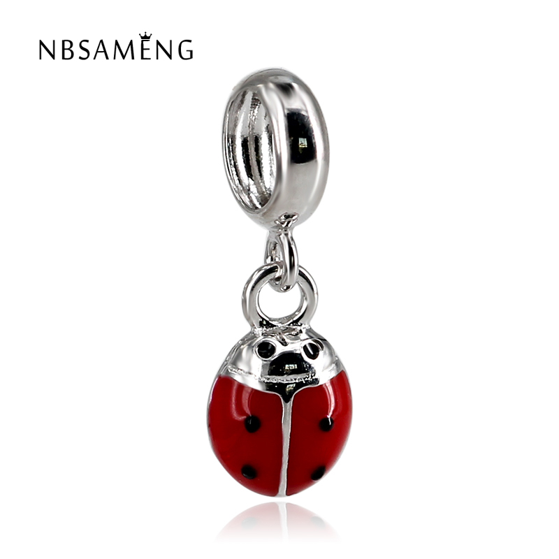 New 925 Sterling Silver Cute Red Yellow Enamel Ladybug Bead Fit Pandora Necklaces & Pendants Animal Charm DIY Jewelry Marking