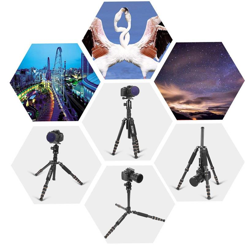 ZOMEI Z699 Travel Camera Tripod Magnesium Aluminum Alloy Monopod 360 degree Ball Head -7