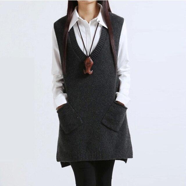 Colete Feminino 2016 New Autumn&Winter Plus Size Loose Vest Sweater for Women V-neck Sleeveless Casual Fashion Veste Femme 1661