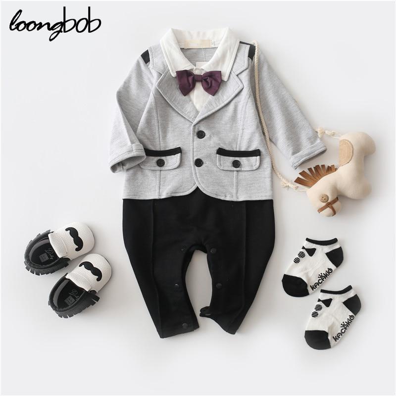 Baby Boy Gentleman Rompers Bow Long Sleeve Jumpsuit Kids Wedding Suits One Piece Clothes Roupa Infantil Autumn Cotton Outwear
