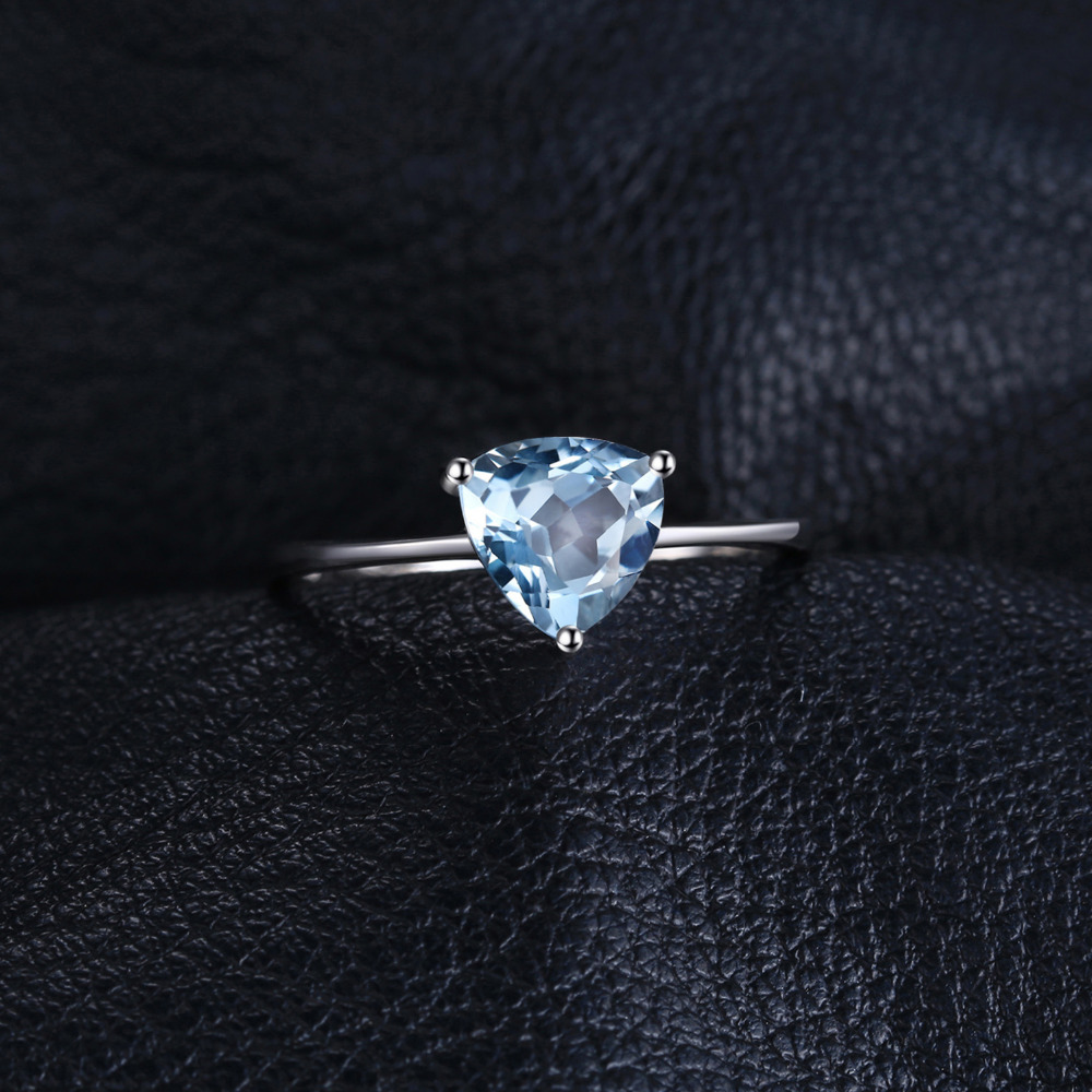 Image 2 - JewelryPalace Genuine Blue Topaz Ring Solitaire 925 Sterling Silver Rings for Women Engagement Ring Silver 925 Gemstones Jewelry-in Rings from Jewelry & Accessories