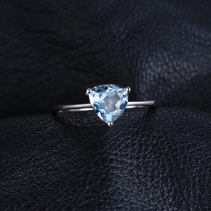 Image 2 - JewelryPalace Genuine Blue Topaz Ring Solitaire 925 Sterling Silver Rings for Women Engagement Ring Silver 925 Gemstones Jewelry