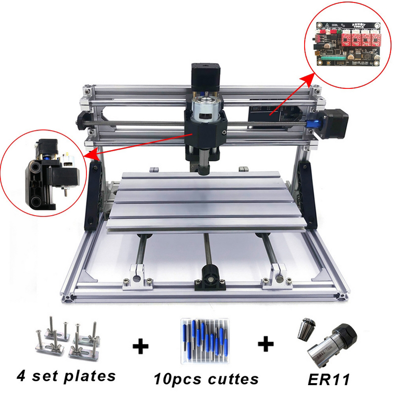 Mini CNC Machine De Gravure avec ER11 Bois Routeur Moulin PCB Fraisage Machine PVC Bois Sculpture Machine DIY CNC Windows