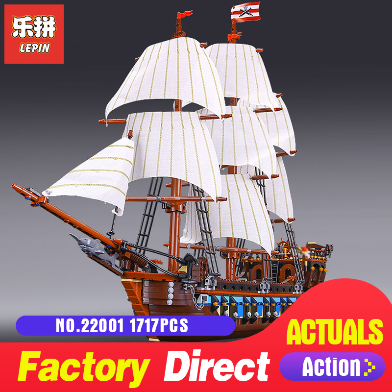 LEPIN 22001 1717Pcs The movies series Pirate Ship warships Model Building Block Briks Educational Toys Model Compatible 10210
