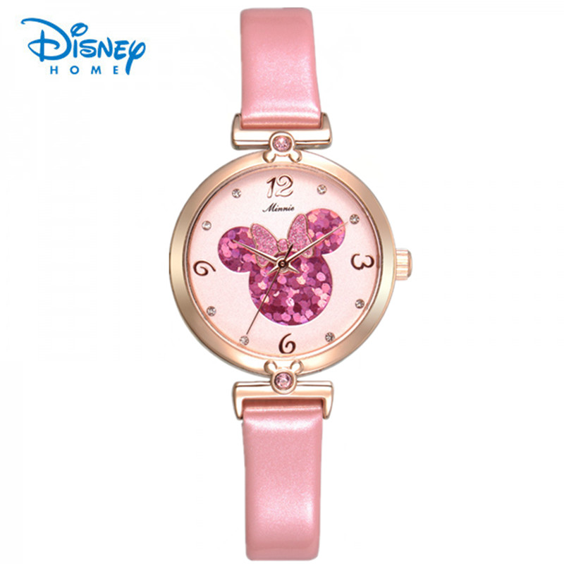 100% Genuine Disney Girl Watch Waterproof Date Watch Women Female Casual Dress Watches Wristwatches Leather Relojes Mujer 2016