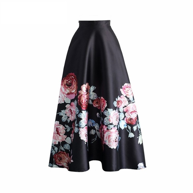 e3a7bfd33c High Waisted Women Pleated Skirts Blossoming Black Floral Printed Ankle  Length Long Skirts Fashion Spring Maxi A-line Skirt