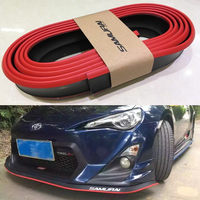 Universal Red With Black Rubber Front lip Splitter Chin Spoiler Side Skirt Body Kit Trim 2.5 Meters for Audi BMW Volkswagen Benz