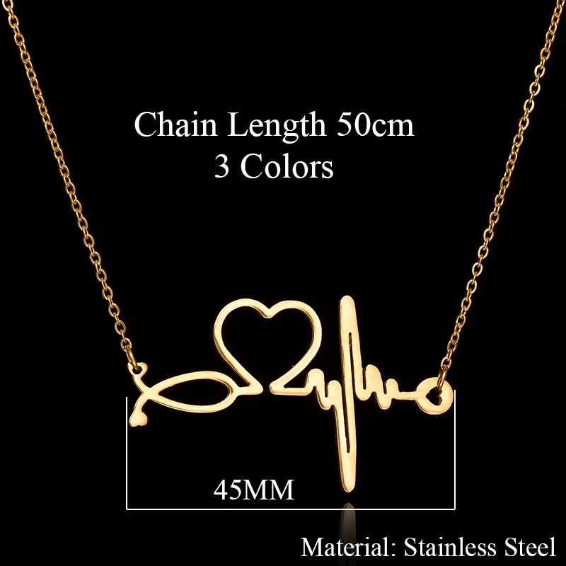 New-Fashion-Stainless-Steel-Jewelry-Necklaces-Pendants-Heart-ECG-Heartbeat-Necklace-Chokers-For-Women