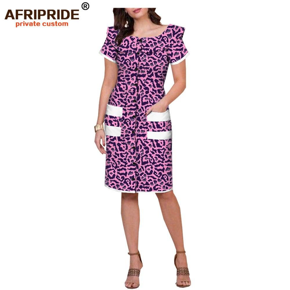 2019 african cotton summer women dress AFRIPRIDE tailor made short sleeves knee length women summer casual