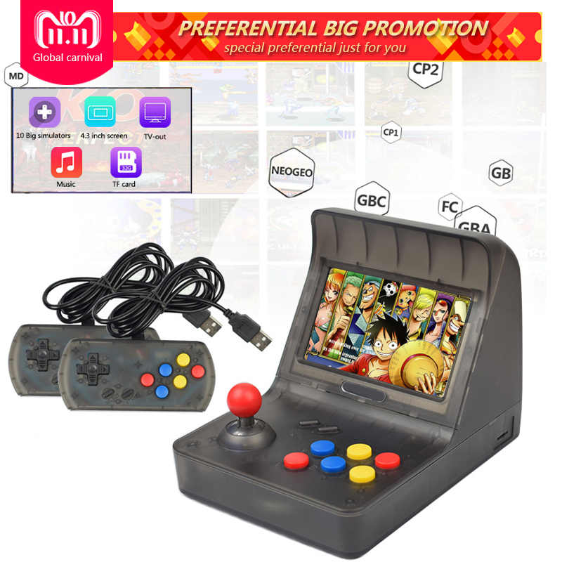 43cc7d304533 ... Mini Handheld Game Console Dual gamepad Retro Arcade 64 bit Video game  console 4.3