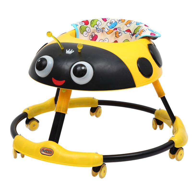 Dessin animé bébé marcheur avec roues multifonctionnel Rollover pliant enfant bambin marcheur voiture marche Assistant