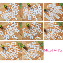 64pcs/set DIY Glitter Tattoo Stencil Layering Stencil For Wall Painting Scrapbooking Stamp Album Crafts Embossing Paper Card