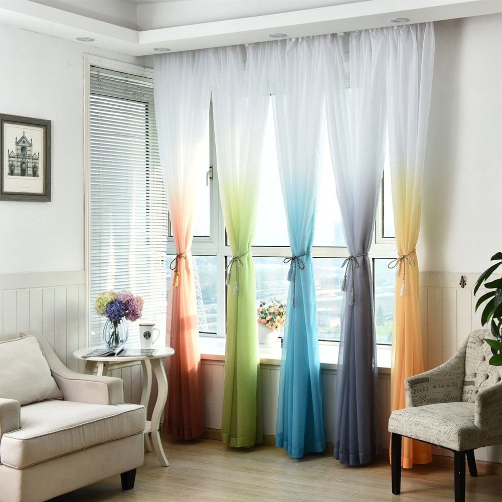 Tulle Curtains Gradient Color Kitchen Decoration Window Treatments ...