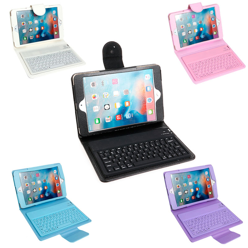 Leather Case Cover With Built In Bluetooth Wireless Keyboard For IPad Mini 2 3 4 New