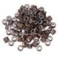 80-100 unids Silicona Forradas Anillos Micro Perlas Loops Tip Cabello Extensiones de Cabello Clips 5mm Light Brown Color venta al por mayor