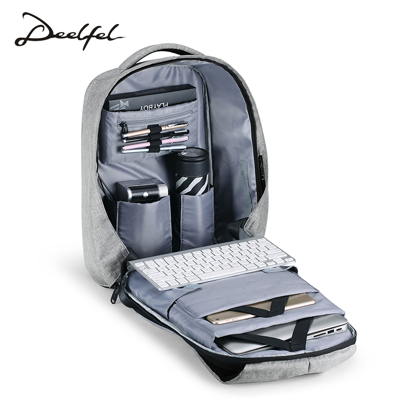 DEELFEL Fashion Backpack for Men Gray Black 15.6 incn Laptop Backpack Men Waterproof anti theft Travel backpack School rugzak compact fashion waterproof men backpack