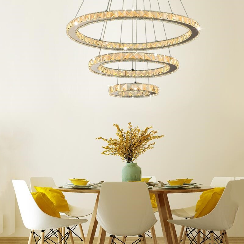 Modern Crystal 3 Rings Chandelier Led Luster Chandelier Ceiling For Living Room Chrome Exposed Lamp Lustres Pendant Lamp