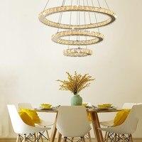 Modern Crystal 3 Rings Chandelier Led Luster Chandelier Ceiling For Living Room Chrome Exposed Lamp Lustres Pendant Lamp