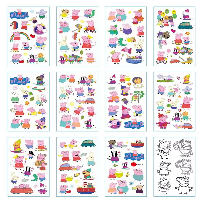 Peppa Pig Toys  Cartoon Temporary Tattoo Sticker  Paste Baby Gifts Toy  Tattoo Child