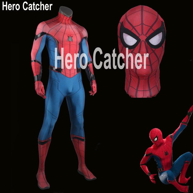 Hero Catcher High Quality Tom Spiderman Costume 2017 Spiderman Suit Homecoming Spiderman Cospaly Costume Fullbody Zentai Suit