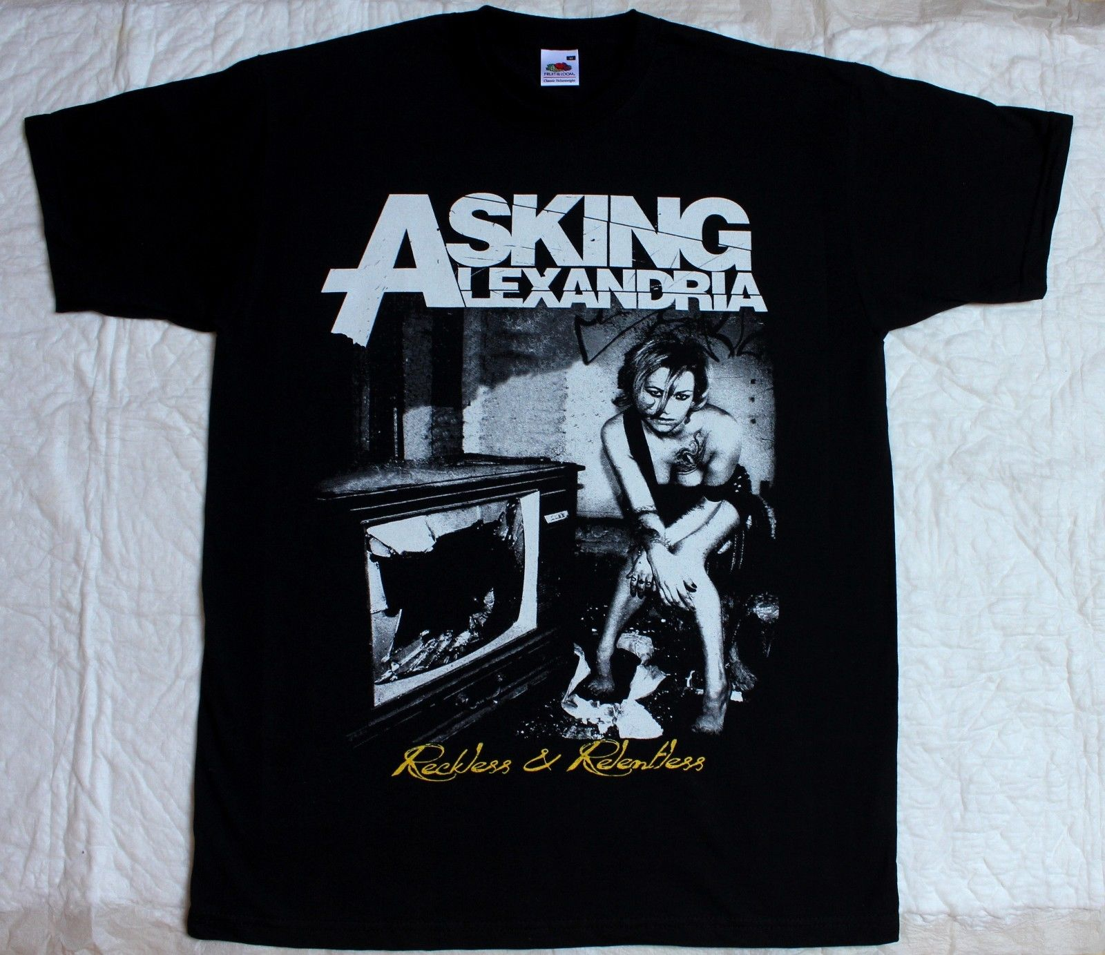 ASKING ALEXANDRIA RECKLESS AND RELENTLESS METALCORE BLACK T-SHIRT MenS T-Shirts Summer Style Fashion Swag Men T Shirts