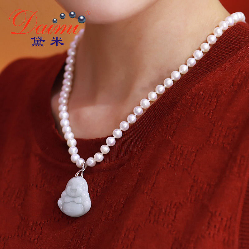 6-7MM Pearl Pendant Necklace Jade Maitreya Freshwater Pearl Pendant For Mother Gift6-7MM Pearl Pendant Necklace Jade Maitreya Freshwater Pearl Pendant For Mother Gift