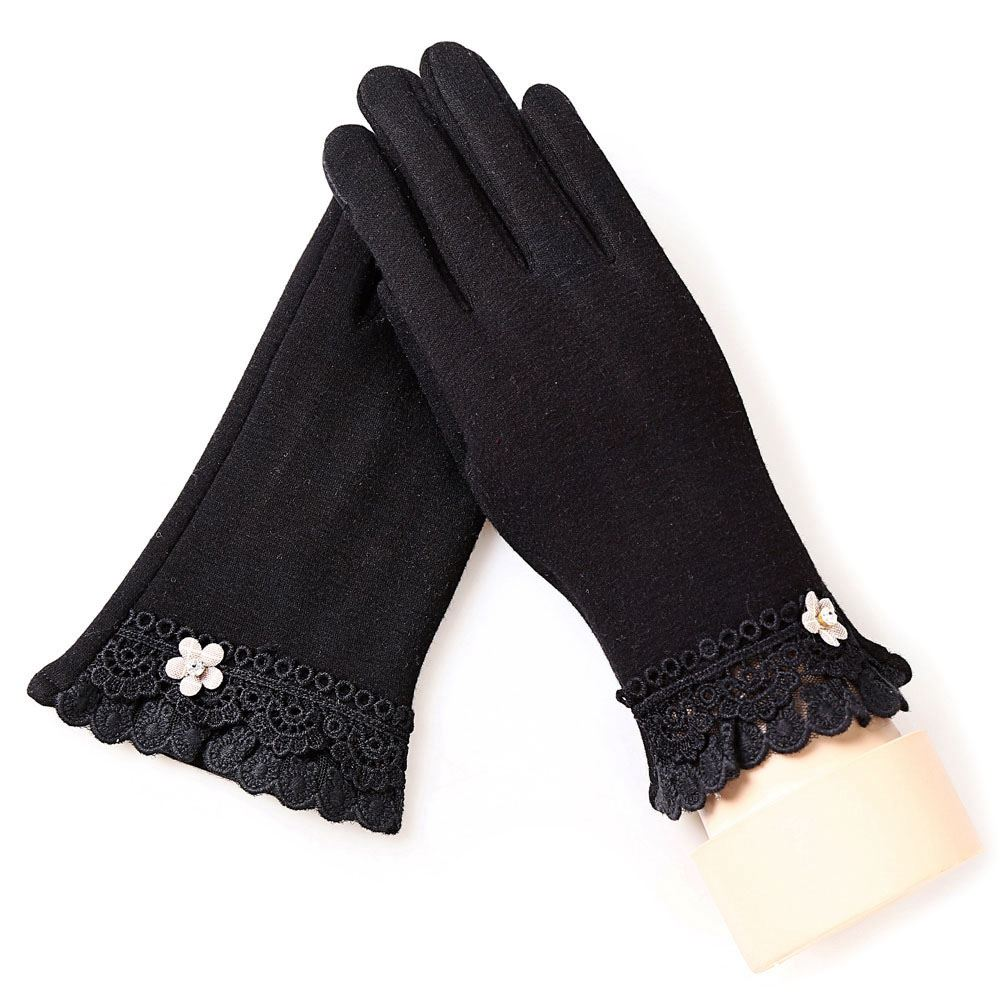 Ladies Winter Outdoor Sports Warm Gloves Lace Gloves