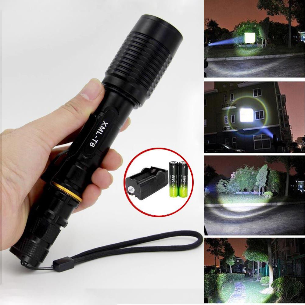 1 PC camping Outdoor Flashlight Black Tactical 5-mode chargeable Zoomable XML T6 LED Fla ...