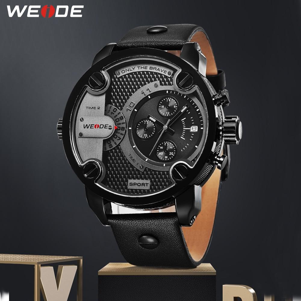 907e319a8e86 WEIDE reloj de cuarzo de marca de lujo analógico militar reloj con correa de  cuero deportes reloj Masculino reloj orologio uomo zegarki hombres relojes  en ...
