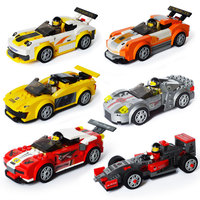 Classic Technical Racing Car F1 Kart Vehicle Model Building Blocks Racing Driver Figures With Helmet Bricks