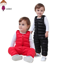 LILIGIRL 2017 Overall For Girl Winter Warm Down Rompers Kids Loose Casual Clothes roupas infantis menina 12M-5y