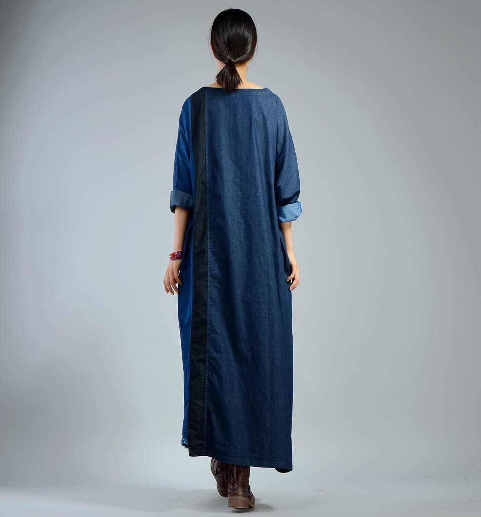 Женское осеннее джинсовое платье-халат в стиле пэчворк, большие размеры, повседневные винтажные платья, большие размеры d, женское джинсовое платье в стиле ретро, свободное весеннее платье